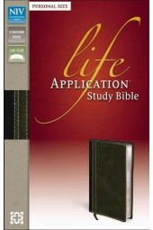 NIV Life Application Study Bible, Personal Size, Italian Duo-Tone, Bark/Dark Moss
