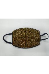 Gold Crystal Rhinestone Mask - Black