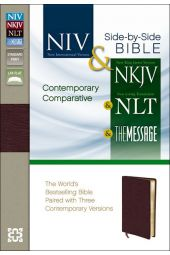 Contemporary Comparative Side-By-Side Bible: NIV, NKJV, NLT, The Message-Burgundy Bonded Leather